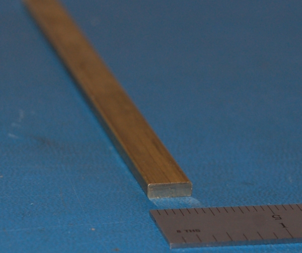 "Brass Rectangular Bar, .125"" (3.2mm) x .375"" (9.5mm) x 6"""