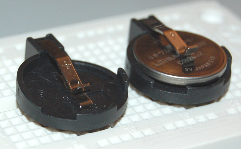 CR2016/CR2032 Coin Cell Battery Holder, Through-Hole
