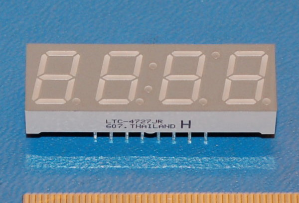 "LED 7-Segment Display, 4 Digits (.40""), Super Red"