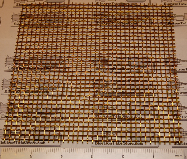 "Brass 6-Mesh (3.3mm / .132"" Wd), .035"" (.89mm) Wire, 6x6"""