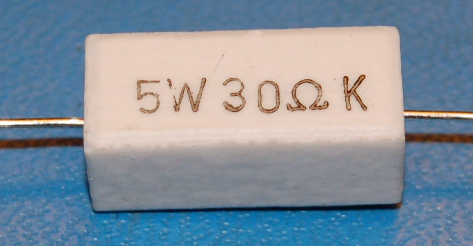 Wirewound Ceramic Power Resistor, 30Ω, 5%, 5W (10 Pk)