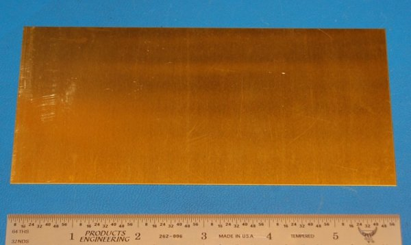 "Brass 260 Sheet, .016"" (.41mm), 6x3"""