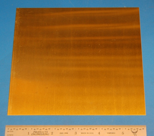 "Brass 260 Sheet, .016"" (.41mm), 6x6"""