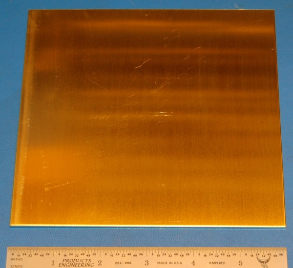 "Brass 260 Sheet, .064"" (1.6mm), 6x6"", Polished"
