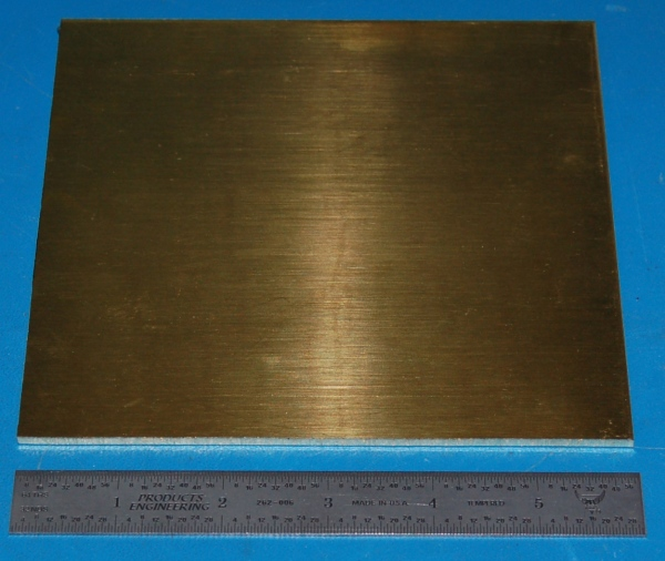 "Brass 260 Sheet, .125"" (3.18mm), 6x6"""
