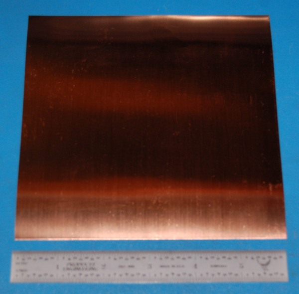 "Copper Sheet / Foil, .001"" (.025mm), 6x6"""