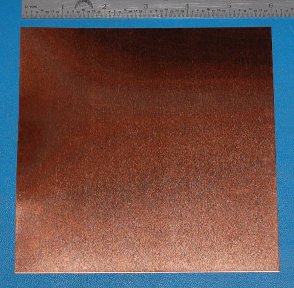 "Copper Sheet #26, .015"" (.38mm), 6x6"""