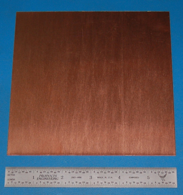"Copper Sheet #20, .032"" (.81mm), 6x6"", Polished"