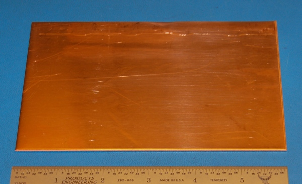 "Copper Sheet #14, .062"" (1.6mm), 6x3"", Polished"