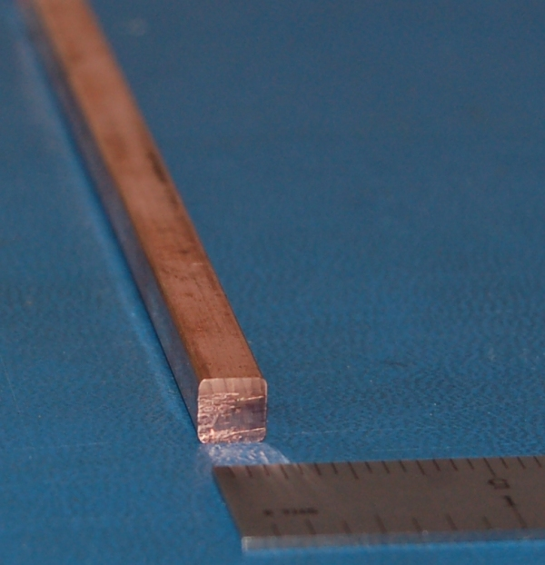"Copper Square Bar, .250"" (6.35mm) x 6"""