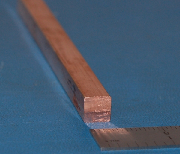 "Copper Square Bar, .375"" (9.53mm) x 6"""