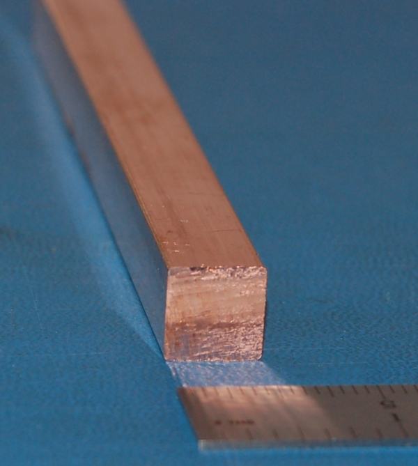 "Copper Square Bar, .750"" (19mm) x 6"""