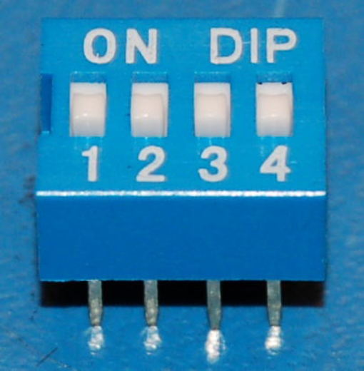 DIP Switch, 2.5mm Pitch, 4-Position, Blue