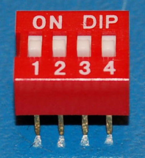DIP Switch, 2.5mm Pitch, 4-Position, Red