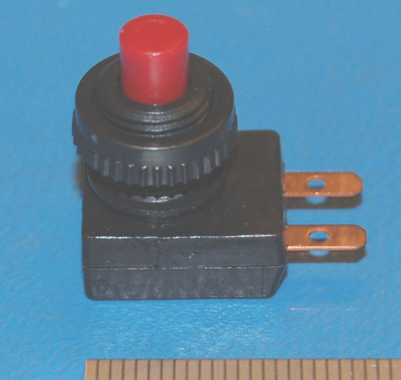 "Push-Button Switch, .375"" (9.5mm) Cutout, SPST, Red Cap"