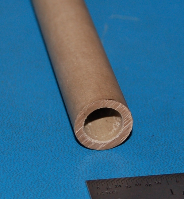 "Vulcanized Hard Fiber Tube, .750"" (19mm) OD x .125"" (3mm) Wall x 6"""