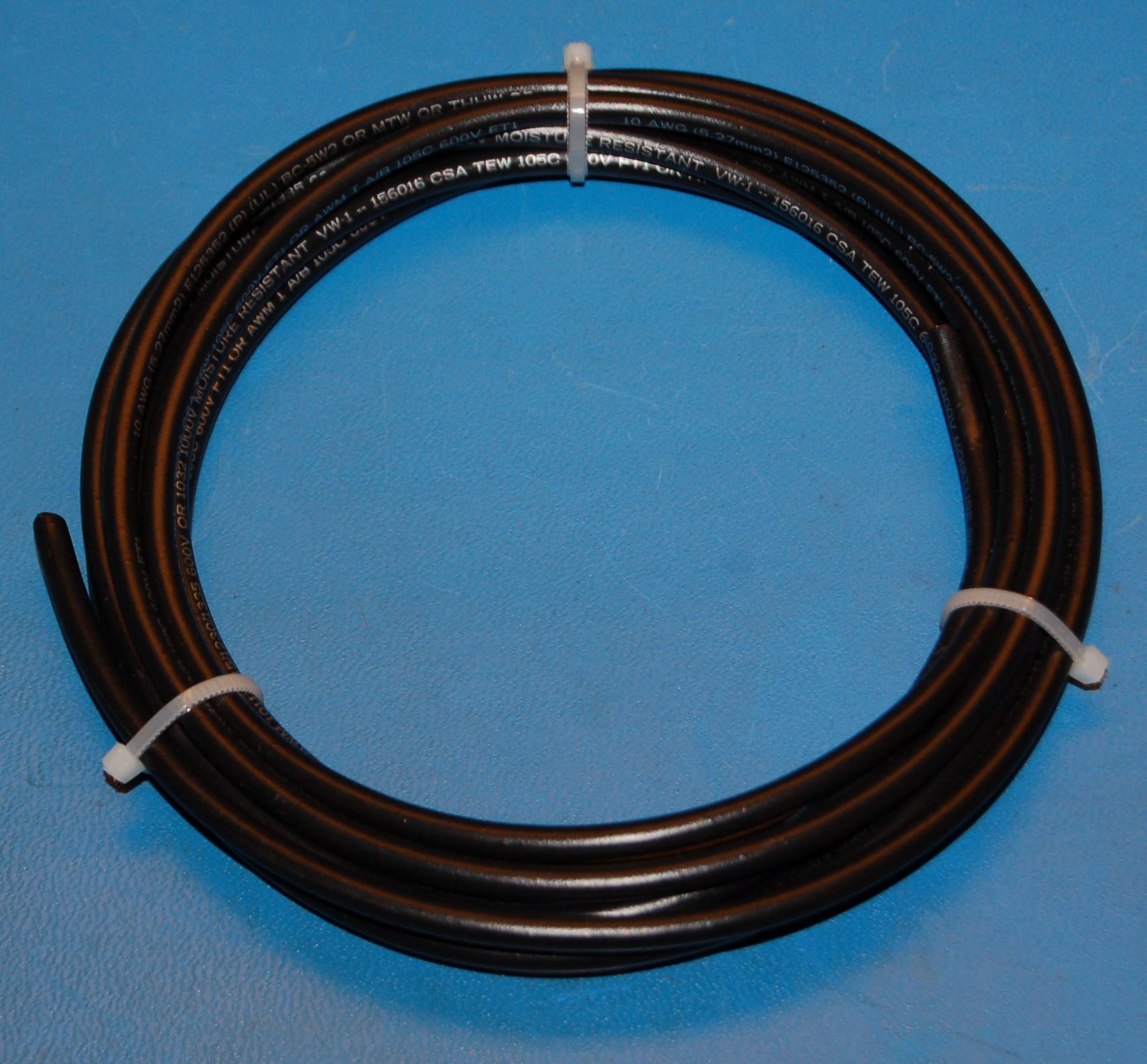 Stranded Copper Wire, 1000V, #10 AWG x 10' (Black)