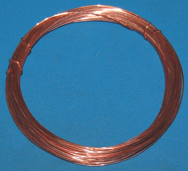"Solid Bare Copper Wire #24 (.020""/.51mm) x 50'"