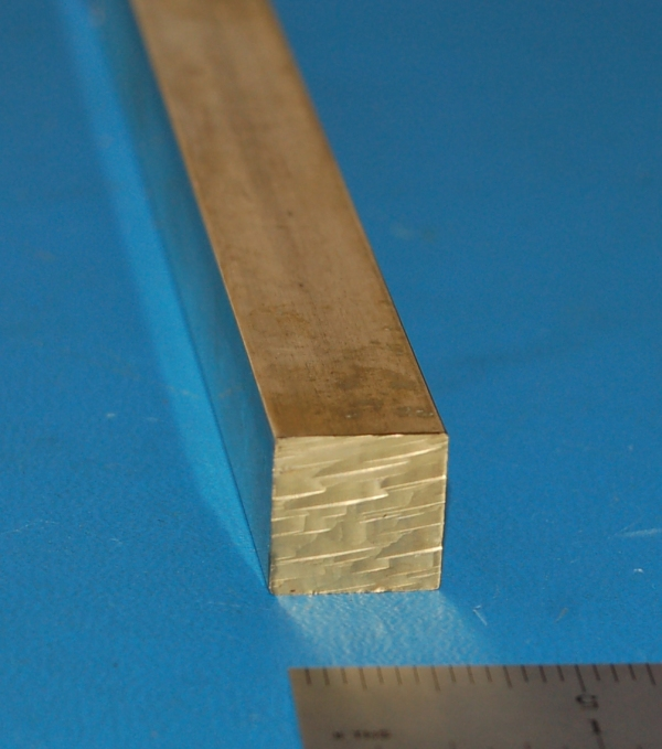 "Brass 360 Square Bar, .625"" (15.9mm) x 12"""